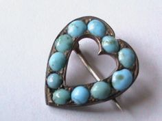 Victorian Turquoise Heart Pin.