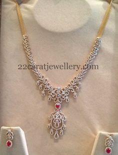 Cheap Diamond Medium Size Diamond Haram 5 Lakhs Only - Latest Collection of best Indian Jewellery Designs. Diamond Necklace Simple, Diamond Pendant, Diamond Jewelry, Gold Jewelry, Gold Necklace, Pendant Necklace, Gold Earrings Designs, Gold Jewellery Design, Necklace Designs
