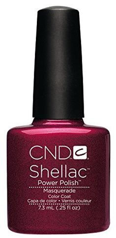 A rich raspberry color coat with a subtle shimmer finish for the CND Shellac System. This chip free, soak off gel polish applies with the ease of polish and wears like a gel for a two week manicure that removes in minutes. Whether for an elegant ball or an everyday look, Masquerade is a pretty, flattering shade for everyone.