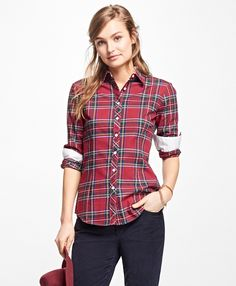 """<a href=""""#pdplearnmore"""" class=""""lm"""">The Red Fleece Collection</a><br>This classic tartan shirt is made from 100% brushed cotton with white oxford and contrast interior grosgrain detail inside the sleeve cuffs and neck. This shirt also features our signature Golden Fleece® 1818 embroidery at the inside of the neck, plus enamel buttons on the front placket, sleeve plackets and cuffs.<br><br>26 ½""""; machine wash; imported."""