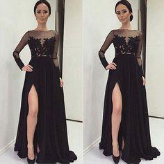 Long Sleeves Prom Gown Black Appliques Chest Best Selling Formal Dress High Split Maxi Dresses For Evening Party Sheer Neck Flirt Prom Dresses Girl Prom Dresses From Dressonline0603, $127.74| Dhgate.Com