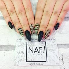 SO FLY! Black matte, camo & leopard extensions on our own sassy nail queen Amber! ✨ Acrylics by Becki, infill by Amber & Nail Art by Tammy, our nails are a team effort! #camonails #leopardnails #mattenails #nafsalon #nafglasgow #nafnails #glasgownails #glasgownailtech #glasgowsalon #glasgow #gelnails #gelpolish #gelnailart #acrylicnails #acrylics #gelish #gelishofficial #makethemgelish #nsiscotland #nsi #nsinails #nails #nailswag #nailstagram #notd