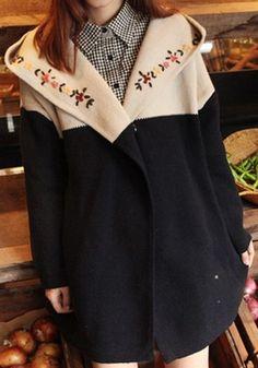 Black Flowers Embroidery Long Sleeve Loose Wool Cardigan