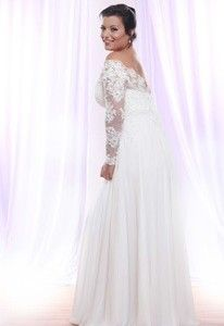 back of Soutage Lace Wedding Dress with Long Sleeves for Plus Size Bride