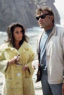 Elizabeth Taylor, Richard Burton on location filming, 'The Sandpiper'. Sharon Tate was supposed to be in it, but fired when Liz saw her beauty, says Sharons agent.