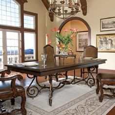 Round Oak Dining Table from France with Antique Iron Base and