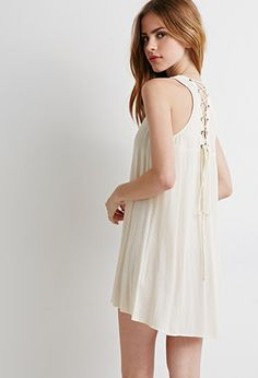 Lace-Up Crepe Tunic | Forever 21 - 2002247673