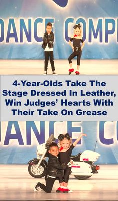 4- #Year - #Olds Take The #Stage #Dressed In #Leather, #Win #Judges ' #Hearts With Their Take On #Grease Grease Dance, Stomach Fat Loss, Slick Hairstyles, Hallmark Cards, 4 Year Olds, 4 Years, John Travolta, Leather Jackets, Amazing