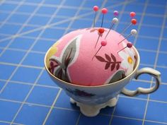thrift store china cup, sponge and fabric ............et voilà, a darling pin cusion