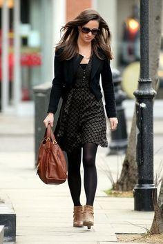 Patterned dress, black blazer/black jacket, black tights, brown ankle boots (Pippa Middleton)