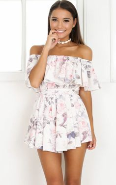 Showpo Rumoured Nights Playsuit in beige floral - 14 (XL) Rompers & Girly Outfits, Cute Summer Outfits, Cool Outfits, Summer Dresses, Year 10 Formal Dresses, Cute Dresses, Casual Dresses, Casual Outfits, Elegant Dresses