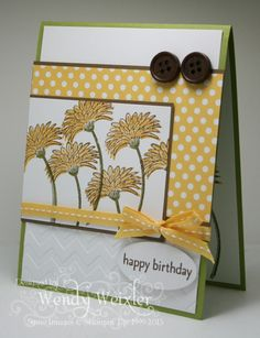 Stamps: Reason to Smile, Family Reunion  Paper: Lucky Limeade, Whisper White, Soft Suede, Polka Dot Parade DSP  Ink: Daffodil Delight, Lucky Limeade, Soft Suede  Accessories: Chevron Textured Impressions Folder, Small Oval Punch, Designer Neutrals Buttons, Daffodil Delight Stitched Grosgrain Ribbon