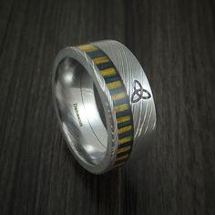 Damascus Steel Celtic Band with Irish Wood Inlay Custom Made Ring