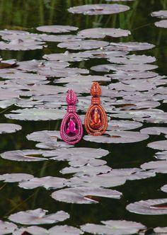 Hemmerle earrings   tourmaline - rubellite - spinels - sapphires - copper - white gold