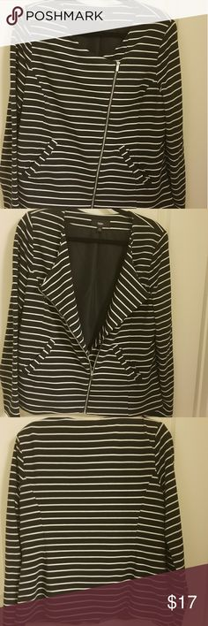 NWOT Mossimo Moto Style Jacket. Black and white striped partially lined jacket. Never worn Mossimo Supply Co Jackets & Coats Blazers