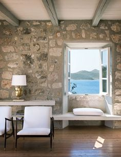 stone wall // window seat // house by the sea Rustic Contemporary, Modern Rustic Interiors, Brick And Stone, Stone Work, Faux Stone, My Dream Home, Home Remodeling, Living Spaces, Living Room