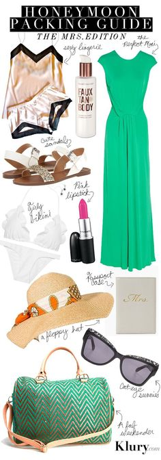 Ideas for Honeymoon packing! A must-have guide for any vacationing bride after her wedding :)