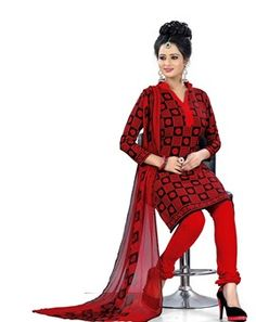 #Marvelous #Red Colored Printed #Dress Material
