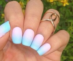 Gorgeous Matte Pink & Blue Faded Nails ♡