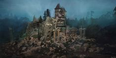 old ruins over Babel by Tobias Schmutz. Tobias, Concept Art, Cathedral, Character Design, Environment, Landscape, Architecture, Drawings, Building