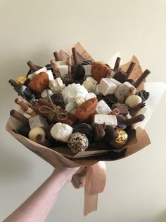 Food Bouquet, Candy Bouquet, Sitting In A Tree, Paper Peonies, Crepe Paper, Paper Paper, Chocolate Bouquet, Edible Gifts, Candy Gifts