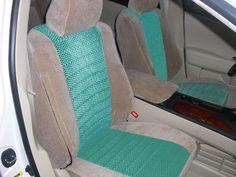 Tan Velquilt Outer- Green Scottsdale Center Blue Two Tone Seat Covers. Custom Fit Seat Covers, Tiffany Blue, Car Seats, Green, Decor, Tiffany Blue Color, Decoration, Decorating, Deco