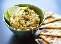 """Roasted jalapeno & lime hummus from The Kitchn: """"The jalapeños hit first, then came the cooling lime just when the heat of the peppers almost seemed too much. The nuttiness of the chickpeas and the creamy texture of the hummus made the perfect backdrop."""" YUM."""
