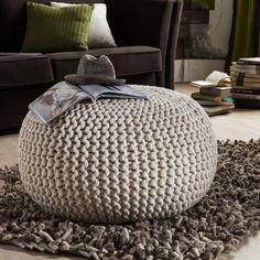 NEU Hocker Pouf Polsterhocker Wolle gestrickt Weiß Fußhocker Home24: Amazon.de: Küche & Haushalt