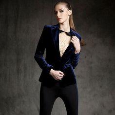 One Button Velvet Black Blazer Women Slim Office Jackets Minimalist Blazers Chaquetas Ladies Wear Womens Business Suits