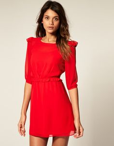 cute red dress and black booties Valentines dress for date with ...