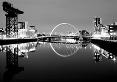 finnieston crane & squinty bridge, river clyde glasgow - black and white, night photo, long exposure, glasgow architects by abbozzo Design Research, Night Photos, White Image, City Lights, Glasgow, Scotland, Art Photography, Beautiful Places, City Skylines