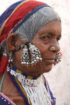 The Lambadi or Banjara tribal people at Raikal village.  Eastern India