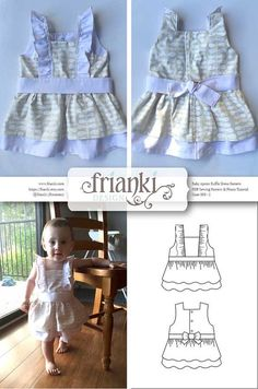 Baby Girl Ruffled Apron Dress PDF Sewing Pattern and by Frianki Perfect unique baby shower gift! #baby #shower