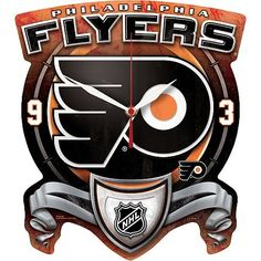 NHL Philadelphia Flyers High Definition Clock by WinCraft. $24.99. Always be on time to watch the big game with this revolutionary NHL® team high-definition clock from WinCraft™. It's designed with dynamic team graphics, a durable matte finish and high-quality Quartz movement with a sweeping second hand for accurate time keeping. The officially licensed clock is decorated in the team colors and includes a 2-year-life AA alkaline battery.