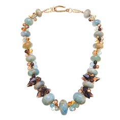 Aquamarine, Citrine, Lemon and Smoky Quartz Necklace | From a unique collection of vintage beaded necklaces at http://www.1stdibs.com/jewelry/necklaces/beaded-necklaces/