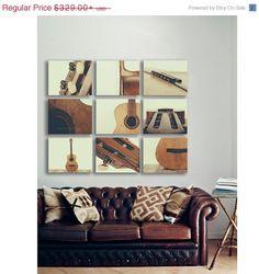 LABOR DAY SALE Acoustic Guitar Parts Vintage Color Tone, Set of Nine Stretched Canvas Prints, Music theme, guitar room, Music Decor