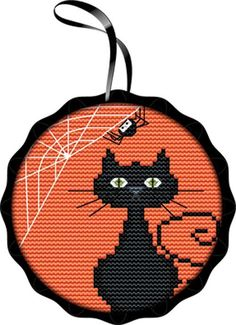 Black Cat Spooky Silhouettes Ornaments Counted Cross Stitch Kit