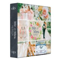 PERSONALIZED LINEN FLORAL 3 WEDDING PHOTO COLLAGE BINDER - watercolor gifts style unique ideas diy