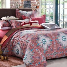 Coral Red Teal and White Western Style Paisley Park Print Bohemian Chic Full Size Cotton Bedding Sets