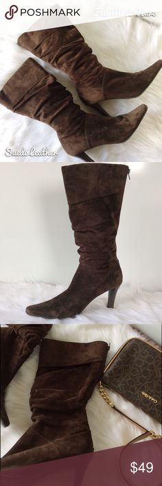 1/2 OFF Brown Suede Leather Slouch Boots Gently Preloved ~ White Mountain Shoes Heeled Boots
