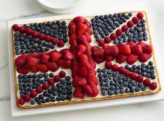 recipe: Union Jack flag fruit pizza