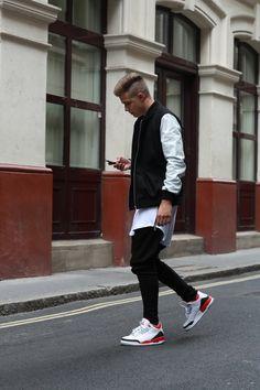 Jordan. Kicks. Sneakers. Street Style. Men. Fashion. Clothing. Black & White. Youth. New. Attitude. Extra Length. Bomber Jacket. Zippers. Details. Slim. Fit. Sidecut. Simple.