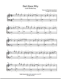 Don't Know Why by Norah Jones Piano Sheet Music   Rookie Level