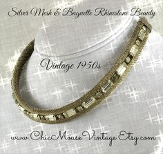 Stunning Mesh necklace with Baguette Rhinestones! Wedding ready!