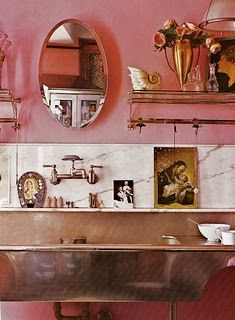 Betsey Johnson's pink kitchen. Love the pink, marble, and mixed metals.