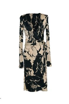 Valentino Roma Biege and Black Patterned Wrap Dress