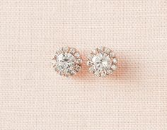 Round Crystal Stud Earrings Bridal Earrings Wedding Bridesmaids, Small and Dainty, Silver Tone, Rose Gold Tone, Small Crystal HALO Earrings Wedding Earrings Studs, Gold Bridal Earrings, Stud Earrings, Bridesmaid Bracelet, Wedding Bracelet, Wedding Jewelry, Rose Gold, Crystal, Sparkle