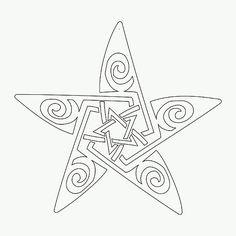 Maori-Celtic star pentacle tattoo stencil