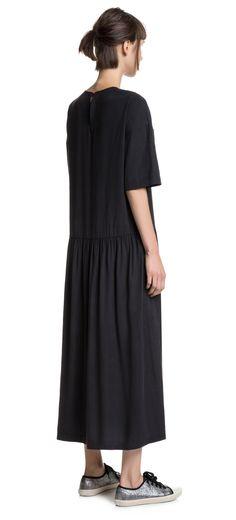 VESTIDOS Vestido negro midi    NEGRO