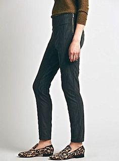 NEW Free People Vegan Suede Leggings green gray side zip  8 $128 #FreePeople #vegansuedeleggings